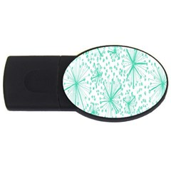 Spring Floral Green Flower Usb Flash Drive Oval (4 Gb)