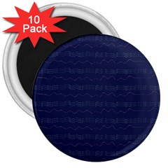 Summers Night Wave Chevron Blue 3  Magnets (10 pack)