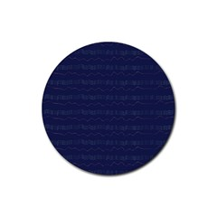 Summers Night Wave Chevron Blue Rubber Round Coaster (4 pack)