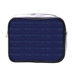 Summers Night Wave Chevron Blue Mini Toiletries Bags