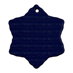 Summers Night Wave Chevron Blue Snowflake Ornament (Two Sides)