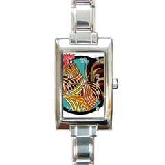 Rooster Poultry Animal Farm Rectangle Italian Charm Watch