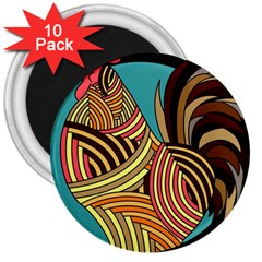 Rooster Poultry Animal Farm 3  Magnets (10 Pack)