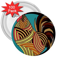 Rooster Poultry Animal Farm 3  Buttons (100 Pack)