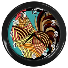 Rooster Poultry Animal Farm Wall Clocks (black)