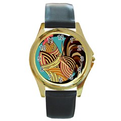 Rooster Poultry Animal Farm Round Gold Metal Watch