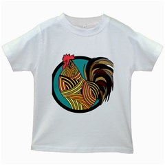 Rooster Poultry Animal Farm Kids White T Shirts
