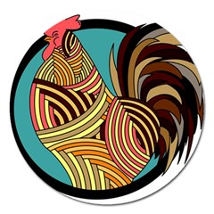 Rooster Poultry Animal Farm Magnet 5  (round)