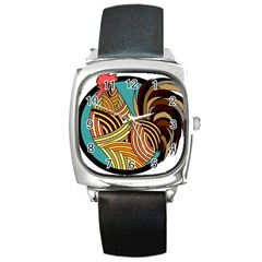 Rooster Poultry Animal Farm Square Metal Watch