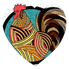 Rooster Poultry Animal Farm Jigsaw Puzzle (heart)