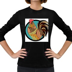 Rooster Poultry Animal Farm Women s Long Sleeve Dark T Shirts