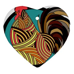 Rooster Poultry Animal Farm Heart Ornament (two Sides)