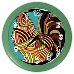 Rooster Poultry Animal Farm Color Wall Clocks