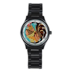 Rooster Poultry Animal Farm Stainless Steel Round Watch