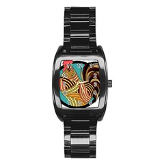 Rooster Poultry Animal Farm Stainless Steel Barrel Watch