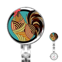 Rooster Poultry Animal Farm Stainless Steel Nurses Watch