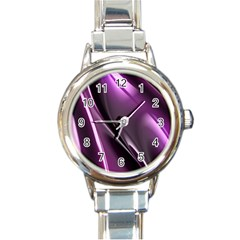 Purple Fractal Mathematics Abstract Round Italian Charm Watch