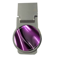 Purple Fractal Mathematics Abstract Money Clips (round)