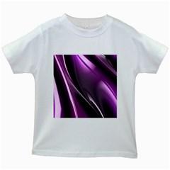 Purple Fractal Mathematics Abstract Kids White T Shirts
