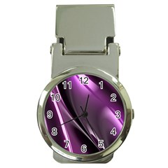 Purple Fractal Mathematics Abstract Money Clip Watches