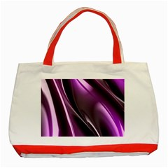 Purple Fractal Mathematics Abstract Classic Tote Bag (red)