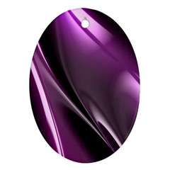 Purple Fractal Mathematics Abstract Oval Ornament (Two Sides)