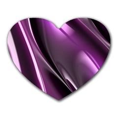 Purple Fractal Mathematics Abstract Heart Mousepads