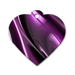 Purple Fractal Mathematics Abstract Dog Tag Heart (one Side)