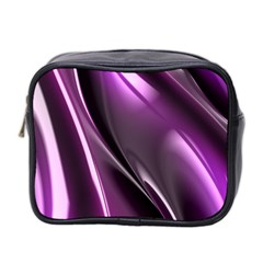 Purple Fractal Mathematics Abstract Mini Toiletries Bag 2 Side