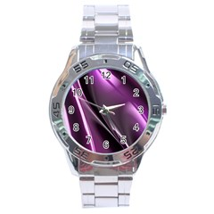 Purple Fractal Mathematics Abstract Stainless Steel Analogue Watch