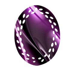 Purple Fractal Mathematics Abstract Oval Filigree Ornament (two Sides)