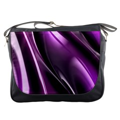 Purple Fractal Mathematics Abstract Messenger Bags