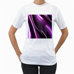 Purple Fractal Mathematics Abstract Women s T-Shirt (White)