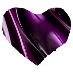 Purple Fractal Mathematics Abstract Large 19  Premium Flano Heart Shape Cushions