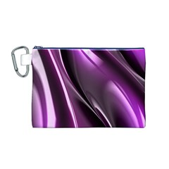 Purple Fractal Mathematics Abstract Canvas Cosmetic Bag (m)