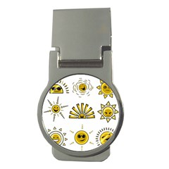 Sun Expression Smile Face Yellow Money Clips (round)