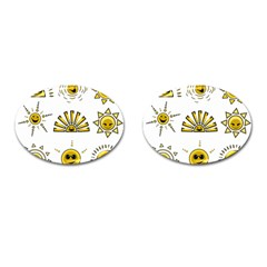 Sun Expression Smile Face Yellow Cufflinks (oval)