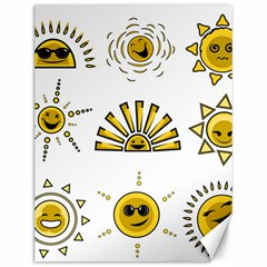 Sun Expression Smile Face Yellow Canvas 12  x 16