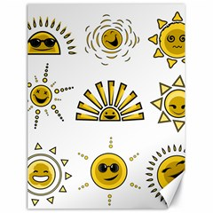 Sun Expression Smile Face Yellow Canvas 18  x 24