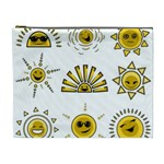 Sun Expression Smile Face Yellow Cosmetic Bag (XL) Front