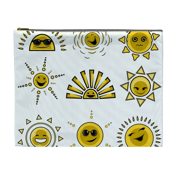 Sun Expression Smile Face Yellow Cosmetic Bag (XL)