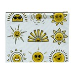 Sun Expression Smile Face Yellow Cosmetic Bag (XL) Back