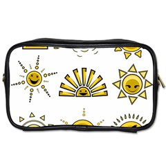 Sun Expression Smile Face Yellow Toiletries Bags