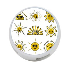 Sun Expression Smile Face Yellow 4-Port USB Hub (One Side)