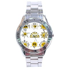 Sun Expression Smile Face Yellow Stainless Steel Analogue Watch