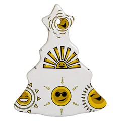 Sun Expression Smile Face Yellow Ornament (christmas Tree)