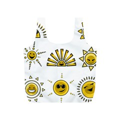 Sun Expression Smile Face Yellow Full Print Recycle Bags (S)