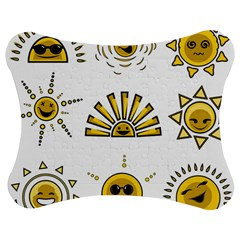 Sun Expression Smile Face Yellow Jigsaw Puzzle Photo Stand (bow)