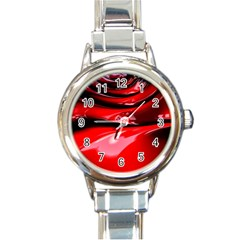 Red Fractal Mathematics Abstract Round Italian Charm Watch