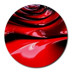 Red Fractal Mathematics Abstract Round Mousepads